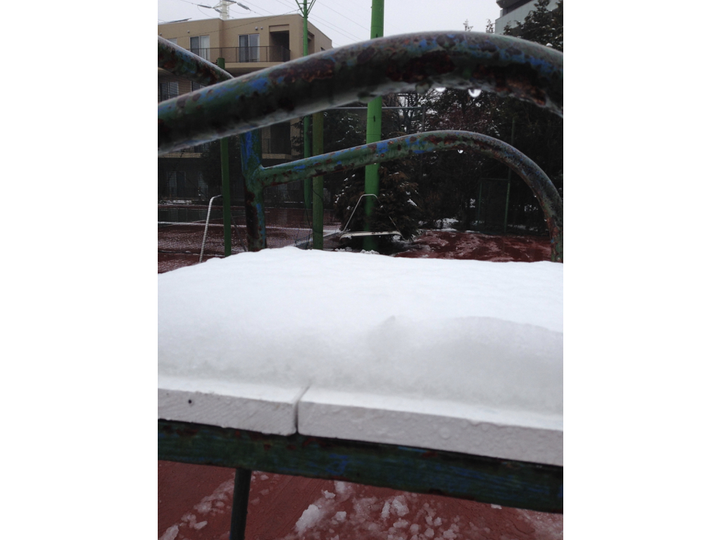 ベンチの上の雪